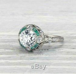 Vintage Art Déco Bague De Fiançailles 2,78 Ct Ronde Vvs1 Diamant 14k Or Blanc Plus