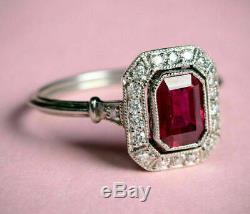 Vintage Art Déco Bague De Fiançailles 2.89ct Rouge Emerald Cut Ruby Or Blanc 14k Plus