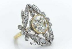 Vintage Art Déco Bague De Fiançailles 2 Ct Coussin Coupé Diamant 14k Or Blanc Sur
