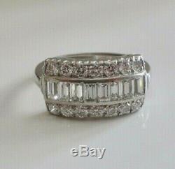 Vintage Art Déco Bague De Fiançailles 3tc Baguette & Diamant Rond En Or Blanc 14k Plus