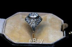 Vintage Art Déco Bague De Fiançailles De Mariage 1.9ct Diamant Rond En Or Blanc 14k Plus