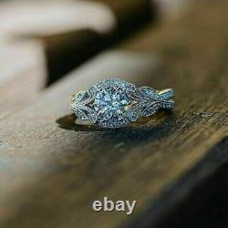 Vintage Art Déco Bague De Fiançailles De Mariage 2 Ct Ronde Diamant 14k Or Blanc Sur