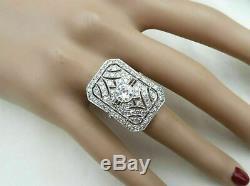 Vintage Art Déco Bague De Fiançailles De Mariage 3.20ct Vvs1 Diamant 14k Or Sur