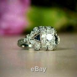 Vintage Art Déco Bague De Fiançailles En Or Blanc 14k Fn 2 Ct Round Diamond & Sapphire