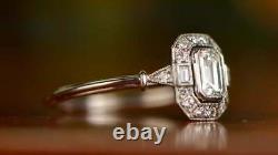 Vintage Art Déco Blanc 3.20 Ct Diamant Antique Engagement Bijoux De Mariage Anneau