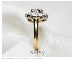 Vintage Art Déco Ct Rond Blanc 2,88 Diamant Antique Bague De Fiançailles De Mariage