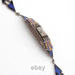 Vintage Art Déco Dames Sterling Silver & Blue, Yellowithorange Enamel Watch