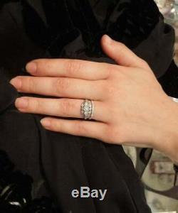 Vintage Art Déco De Fiançailles De Mariage Bague Diamant 1.61ct Or Blanc 14k Plus Beaux