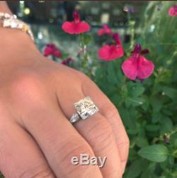 Vintage Art Déco De Fiançailles De Mariage Bague En Or Blanc Diamant Rond Plus 3.5ct