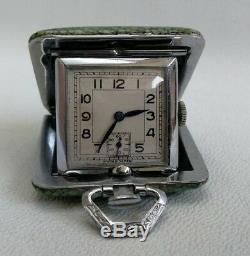 Vintage Art Déco Des Années 1930 Shagreen Miniature Voyage Pliant Montre De Poche Et Boîte