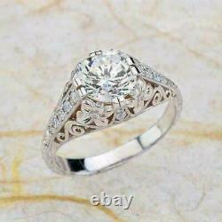Vintage Art Deco Engagement Bague Incroyable 14k Or Blanc Sur 2,31 Ct Diamant