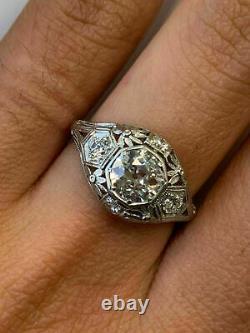 Vintage Art Déco Mariage Filigre Antique Anneau 14k Or Blanc Plus De 2 Ct Diamant
