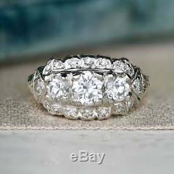 Vintage Art Déco Rétro Fin Bague De Fiançailles En Argent Sterling 925 4ct Bague En Diamant