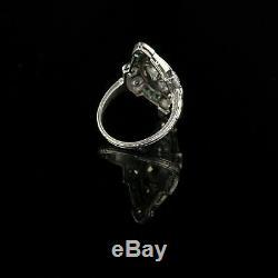 Vintage Art Deco Sapphire Anneau Fin 3 Ct Trois Pierres De Diamant En Or Blanc 14k Plus