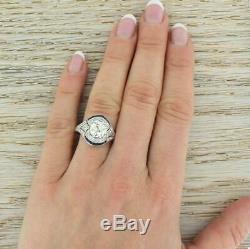 Vintage Art Deco Sapphire Bague De Fiançailles En Or Blanc 14k Plus De 2 Ct Diamant Rond