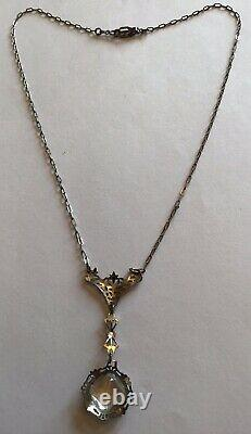 Vintage Art Déco Sterling Silver Clear Rhinestone Filigree Pendentif Collier M9