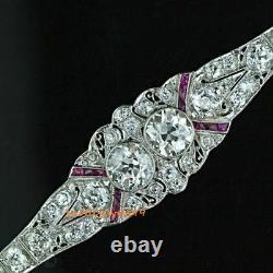 Vintage Art Déco Twin Diamond D/vvs1 925 Sterling Silver Fine Bracelet 7 Pouces