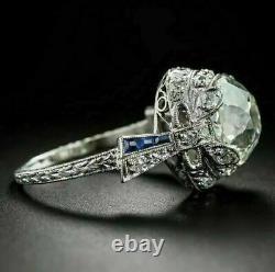 Vintage Art Nouveau Fiançailles Filigrane Anneau 2.78 Ct Diamant 14k Or Blanc Sur