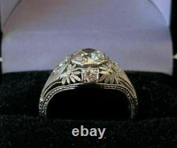 Vintage Art Retro Engagement & Wedding Ring 2.31 Ct Diamond 14k Or Blanc Plus