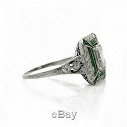 Vintage Bague De Fiançailles De Mariage 2ct Diamant Émeraude Saphir Or Blanc 14 Ct Plus