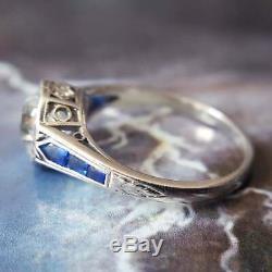 Vintage Bague De Fiançailles De Mariage En Or Blanc 14k Plus 2ct Ronde Diamond & Sapphire