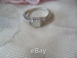 Vintage Bijoux Bague En Argent Sterling Avec Opal Saphirs Antique Bijoux 10