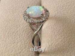 Vintage Bijoux Bague En Argent Sterling Opale Et Blanc Saphirs Antique Bijoux