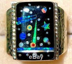 Vintage Black Opal Space Feuille De Route Bague Nasa Opal 11 1980 De 8g Sterling V