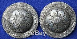 Vintage Bohlin Sterling Silver Bridon Western 2 Rosettes Conchos Têtière