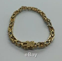 Vintage Bracelet En Argent Sterling 925 7,25 Topaze Bleu Tone Vermeil Or X Tennis