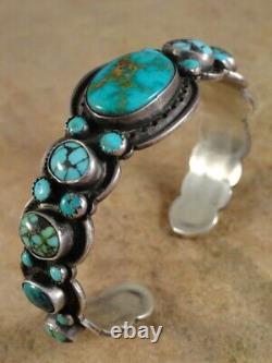 Vintage Bracelet En Argent Style Navajo Turquoise Et Sterling Johnson