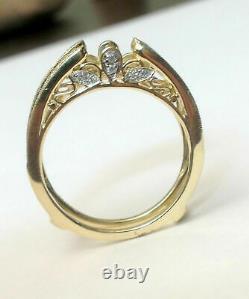 Vintage Cathédrale Ring Guard Solitaire Diamond Enhancer 14k Or Jaune Plus De 925