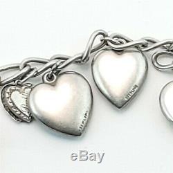 Vintage Charm Bracelet Coeur Soufflé 925 En Argent Sterling Avec Quelques Charms Émail