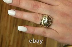 Vintage David Yurman 18k Or Sterling Silver Diamond Heart Dome Ring Size7-7.5