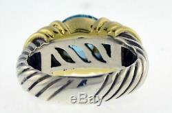 Vintage David Yurman Argent Or Sterling Bleu Topaze Capri Câble Anneau Sz 5.5