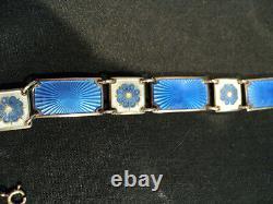 Vintage David-andersen Norway Sterling Silver & Guilloche Enamel Link Bracelet