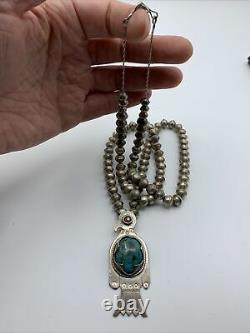 Vintage Des Années 1960 Navajo Thunderbird Iltaid Turquoise Silver Comband Necklace