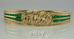 Vintage Diamond & Bracelet Vert Émeraude En Or Jaune 14k Plus De 7,5 Bangle