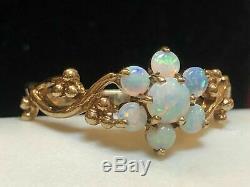 Vintage Domaine 14k Or Jaune Plus De 2.65ct Opale De Feu Fleur Bague De Fiançailles