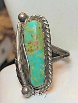Vintage Domaine Sterling Argent Turquoise Bague Amérindien Signé Er