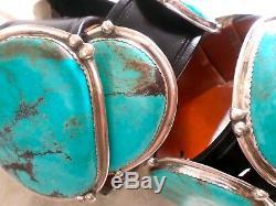 Vintage E & C Fierro Navajo Native American Sterling Argent Turquoise Concho Ceinture