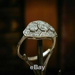 Vintage Edwardian Art Déco Fiançailles Et Mariage Bague 2.5ct Diamant 14k Or Sur