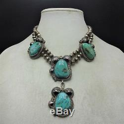 Vintage Elegant Navajo En Argent Sterling Grand Turquoise Cabochons Collier