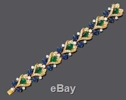 Vintage Emeraude, Diamant Et Saphir Bracelet, En Or 18k Plus De 7,5