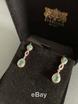 Vintage Emeraude Et Diamant Or Blanc 14k Plus 2.80ct Femmes Boucles D'oreilles Dangle