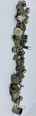 Vintage En Argent Sterling (925) Bracelet À Breloques Avec 40 Charms