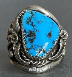 Vintage En Argent Sterling Amérindien Navajo Grand Kingman Turquoise Dôme Anneau