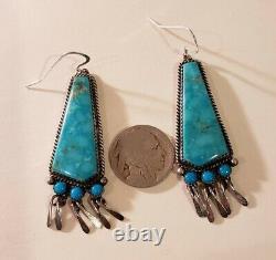 Vintage En Argent Sterling Amérindien Signé Boucles D'oreilles Turquoise