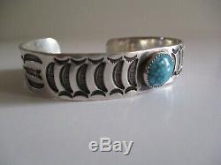 Vintage En Argent Sterling Bracelet Amérindien Indien Navajo Turquoise