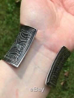 Vintage En Argent Sterling Large Bracelet Énorme Big Gras Lourd Ornement Repousse